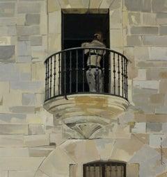 Balcony - XXI century, Oil figurative painting, Architecture