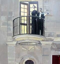 Balcony - XXI Century, Contemporary Figurative Oil Painting, Architecture