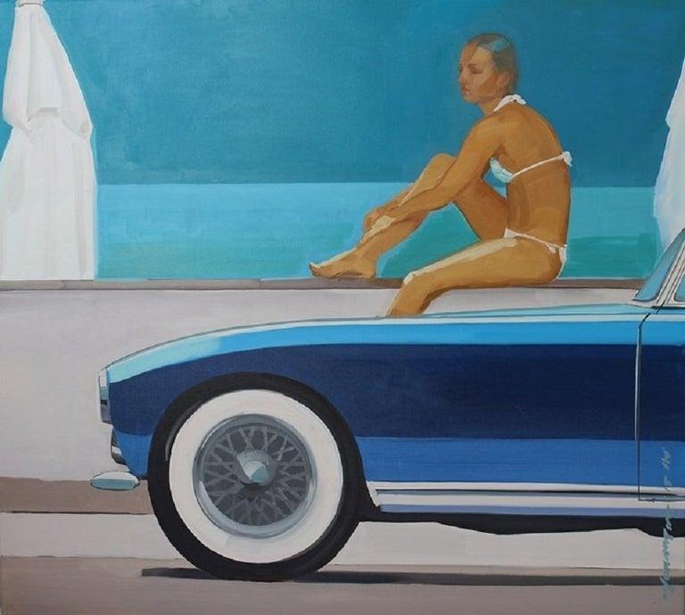 Marek Okrassa Figurative Painting - Beach (A car) - XXI century, Figurative realist oil painting, Blue