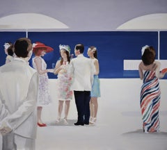 Beach - XXI century, Figurative realist oil painting, Blue & white