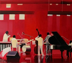 Concert - XXI century, Figurative oil painting, Jazz, Red