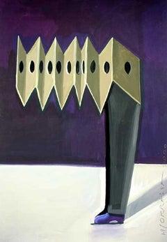 Harmonica - XXI century, Figurative painting, Purple, Surrealist
