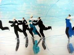 Icerink - a blue dress - XXI century, Figurative realist painting