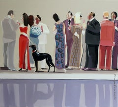 Party with a black hound - XXI Century, Contemporary Figurative Oil Painting