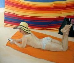 Sunscreen I - XXI century, Figurative realist oil painting
