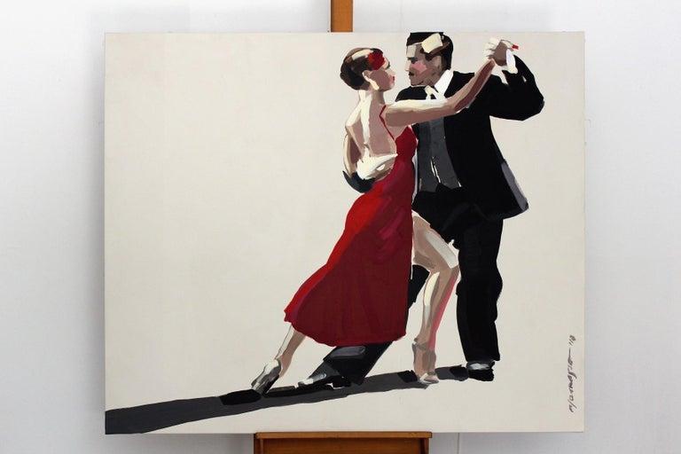 Tango - XXI century, Figurative oil painting, Red, Dance, Couple - Painting by Marek Okrassa