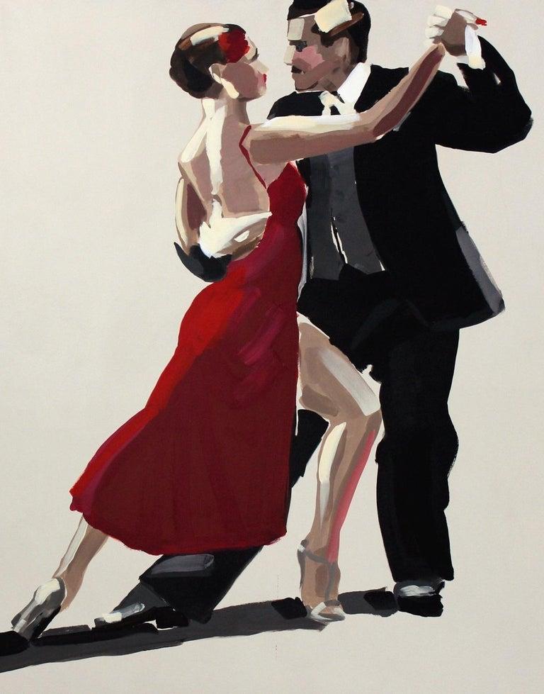 Tango - XXI century, Figurative oil painting, Red, Dance, Couple - Realist Painting by Marek Okrassa