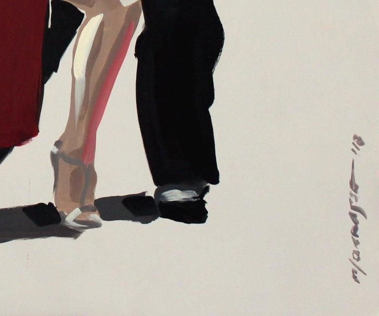 Tango - XXI century, Figurative oil painting, Red, Dance, Couple - Beige Figurative Painting by Marek Okrassa