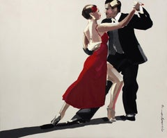 Tango - XXI century, Figurative oil painting, Red, Dance, Couple