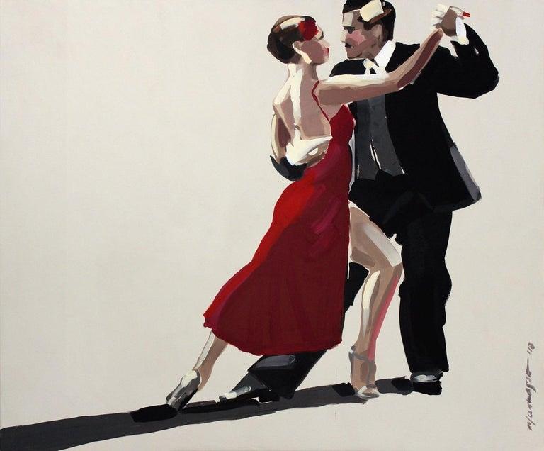 Marek Okrassa Figurative Painting - Tango - XXI century, Figurative oil painting, Red, Dance, Couple