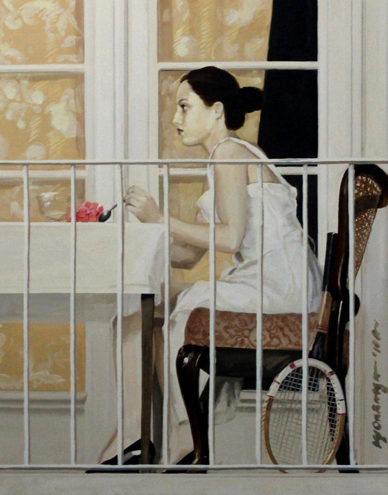 Tennis racket - XXI century, Oil figurative realist painting - Painting by Marek Okrassa