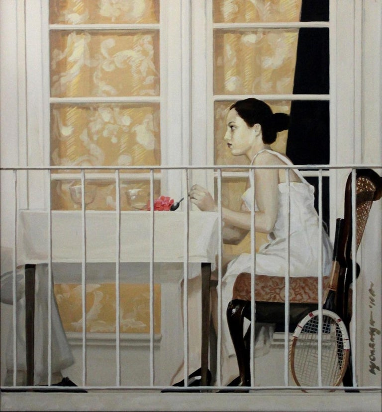 Marek Okrassa Figurative Painting - Tennis racket - XXI century, Oil figurative realist painting