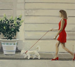 Walk with a dog - XXI century, Oil figurative painting, Animals, Architecture