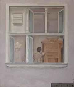 Window - XXI century, Figurative realist oil painting
