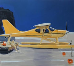 Yellow hydroplane - XXI century, Figurative oil realist painting, Planes