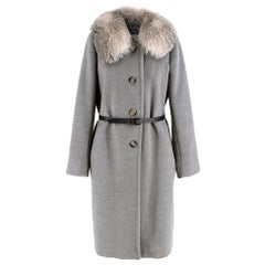 Marella Detachable Fur Collar Grey Wool Coat SIZE 12