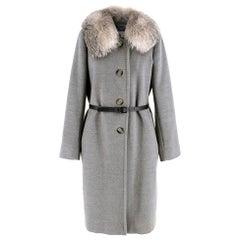 Marella Detachable Fur Collar Grey Wool Coat - Size US 8