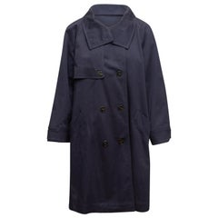 Marella Navy Cotton Double-Breasted Trench Coat
