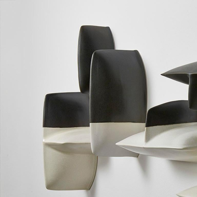 Bronze black and white porcelain wall installation sculpture by Maren Kloppmann For Sale 1