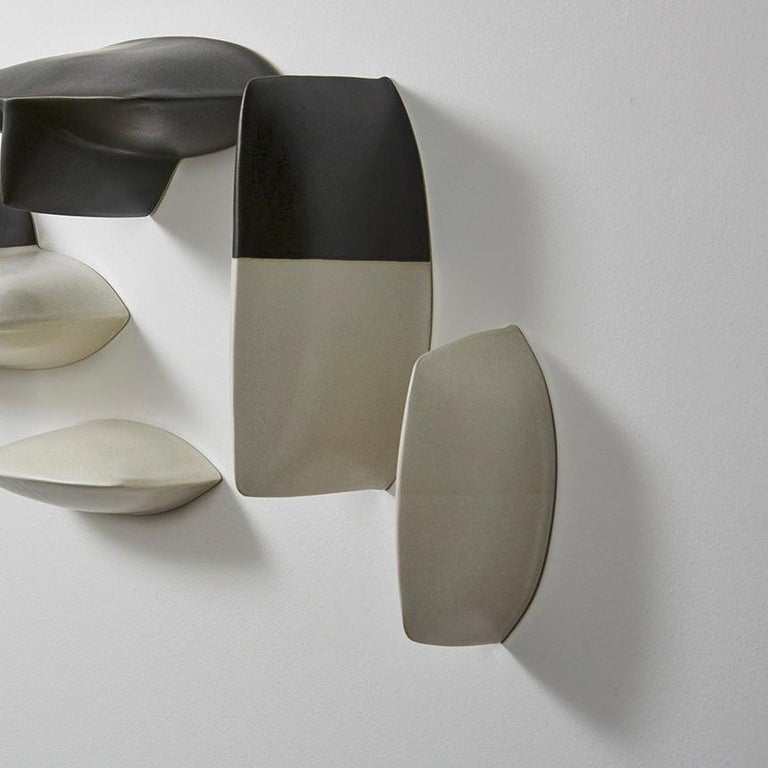 Bronze black and white porcelain wall installation sculpture by Maren Kloppmann For Sale 2