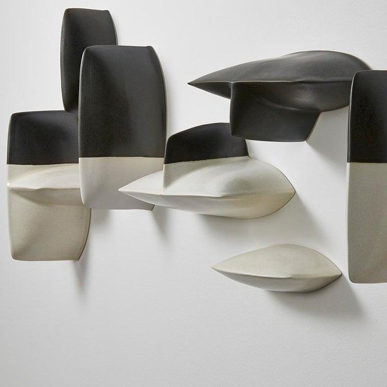 Bronze black and white porcelain wall installation sculpture by Maren Kloppmann For Sale 3