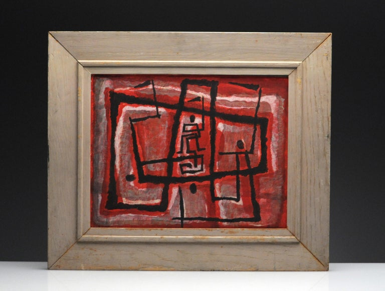 Painting by Margaret Balzer Cantieni (1914-2002). Tempera on wood board. Signed in lower right corner