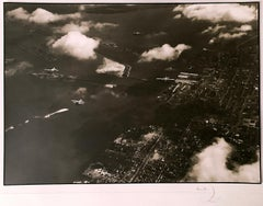 Aerial view of Palm Island, Black and White Landscape Photography of Airplanes