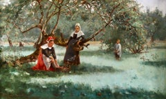 Collecting Apples - Impressionist Oil, Figures in Landscape by M C Macpherson