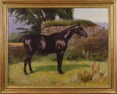 19th Century sporting horse portrait oil painting