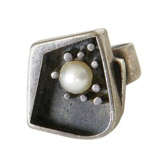 Margaret De Patta Modernist Sterling Silver Ring with Pearl