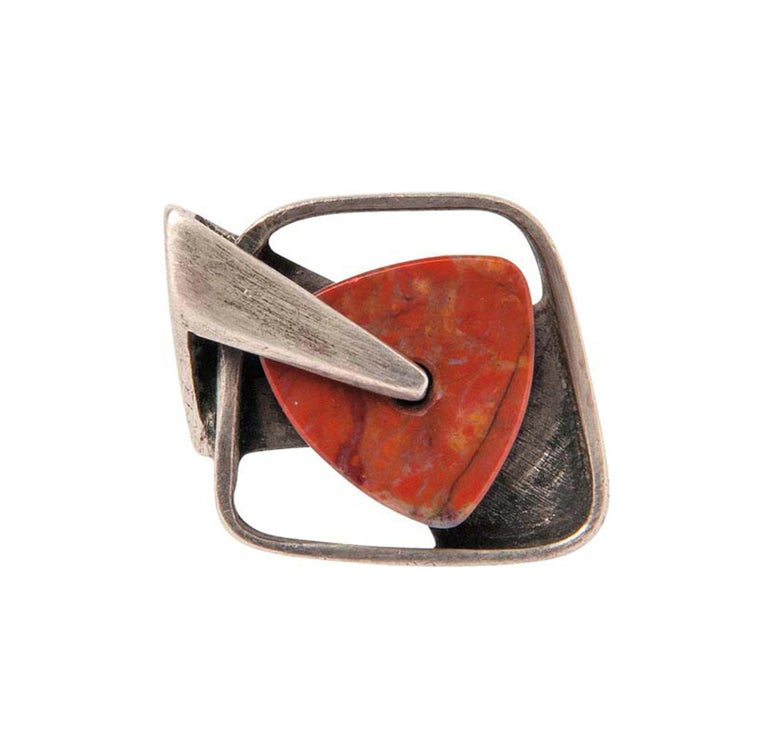 Margaret De Patta Sterling Silver Agate Abstract Modernist Ring For Sale