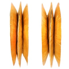 MARGARET ELLIS c.1991 Handcrafted Bronze Textured Large Hoop Clip On Earrings