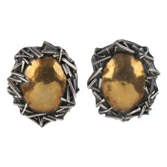 Margaret Ellis Sterling Silver Bronze Brutalist Clip Earrings
