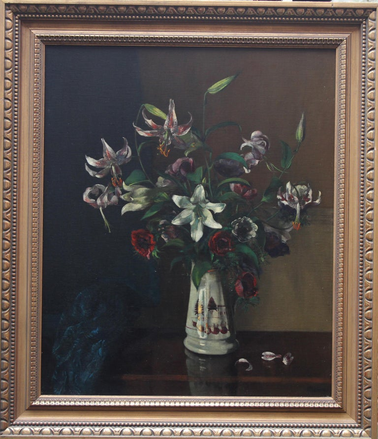 Floral Arrangement - British art 1920's oil painting still life lilies flowers For Sale 5