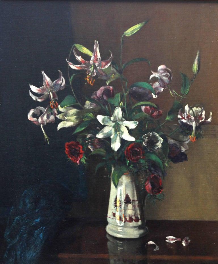Floral Arrangement - British art 1920's oil painting still life lilies flowers - Painting by Margaret Evangeline Wilson