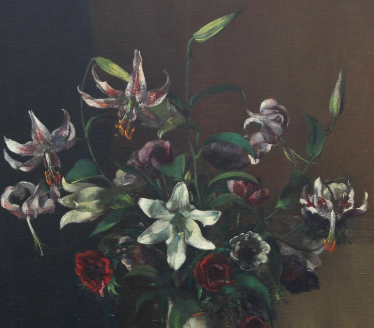Floral Arrangement - British art 1920's oil painting still life lilies flowers - Realist Painting by Margaret Evangeline Wilson