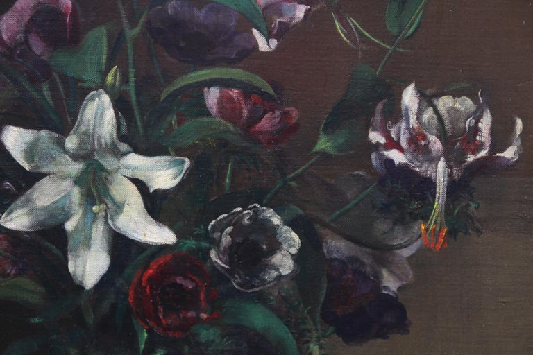 Floral Arrangement - British art 1920's oil painting still life lilies flowers - Black Still-Life Painting by Margaret Evangeline Wilson