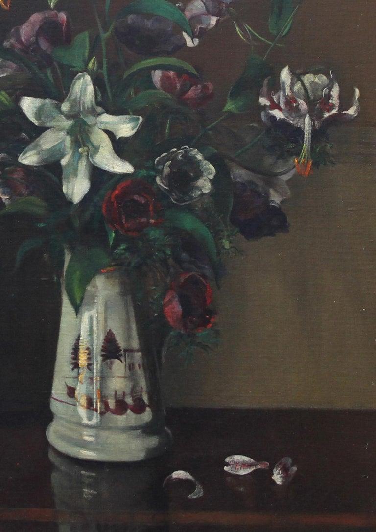 Floral Arrangement - British art 1920's oil painting still life lilies flowers For Sale 1