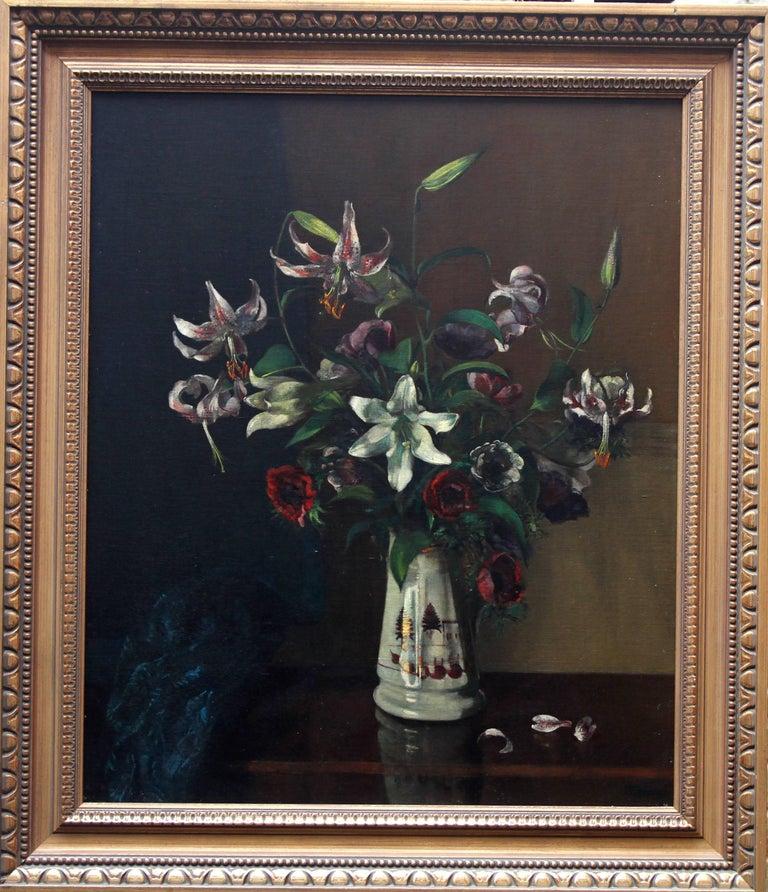 Margaret Evangeline Wilson Still-Life Painting - Floral Arrangement - British art 1920's oil painting still life lilies flowers