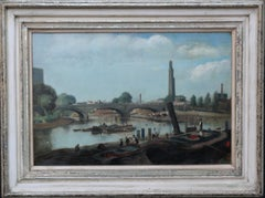 London Thames - Strand on the Green - British 40's oil painting riverscape exhib