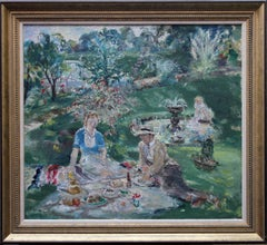 Garden Picnic - British 30's Post impressionist art oil painting Prout family