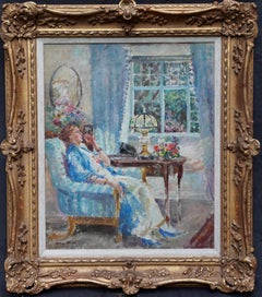 Summer Evening - British Post Impressionist 1940's art portrait oil painting