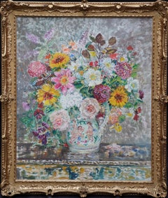 Summer Flowers - British Post Impressionist 1930's art floral oil painting
