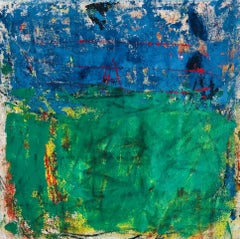 Campo, bright blue and green abstract expressionist oil painting on canvas