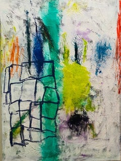 Collective, green multicolored abstract expressionist painting on canvas