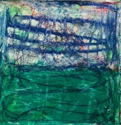 El Cerro, blue, green and white abstract expressionist oil painting on canvas