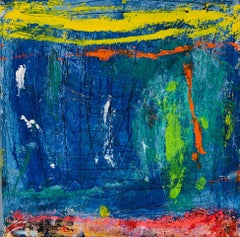 Esperanza, blue, red and yellow abstract expressionist oil painting on canvas