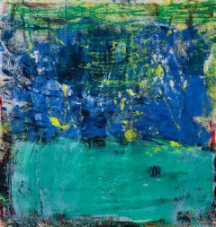 Estrella, bright blue and green abstract expressionist oil painting on canvas