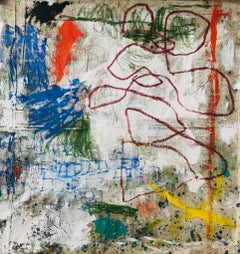 Peering Through, multicolored abstract expressionist painting on drop cloth