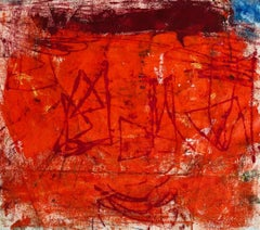 Pilar, bright red and orange abstract expressionist oil painting on canvas